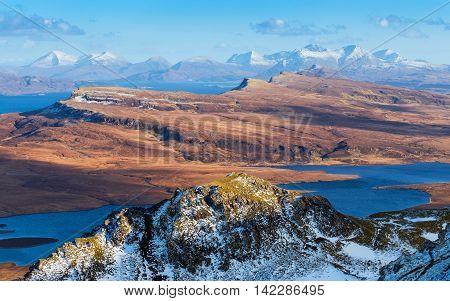 The Scottish Highlands skyline shot from the Old Man of Storr at daytime - Isle of Skye, Scotland, UK