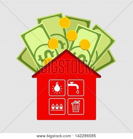Red house icon, symbols of public utilities are in cells of window. Dollars and coins above. Payment of housing and public utility services and family budget