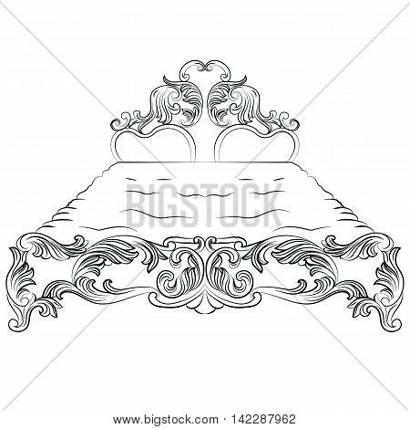 Baroque luxury style bed furniture. King size bed with luxurious rich ornaments. French Luxury rich carved ornaments decoration. Vector Victorian exquisite Style furniture. Vector sketch poster