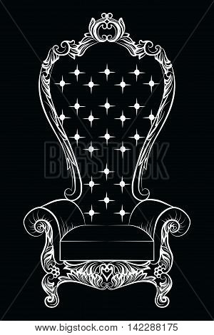 Baroque luxury style armchair furniture. Throne with luxurious rich ornaments. French Luxury rich carved ornaments decoration. Vector Victorian exquisite Style furniture. Vector sketch poster