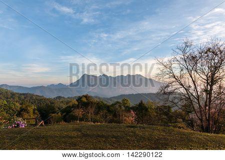 Sunrise on Doi Luang Chiang Dao taken from Doi Mae Taman Chiang Mai Thailand.