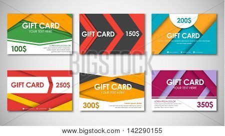 Set of gift cards of different values. Material design. Templates of different colors and shapes. Vector illustration.