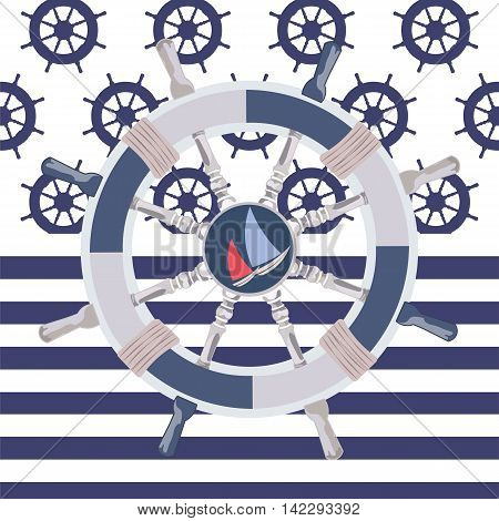 Ship steering wheal. Nautical wheel and striped background. Vector maritime theme
