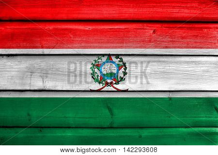 Flag Of Afonso Claudio, Brazil, Painted On Old Wood Plank Background