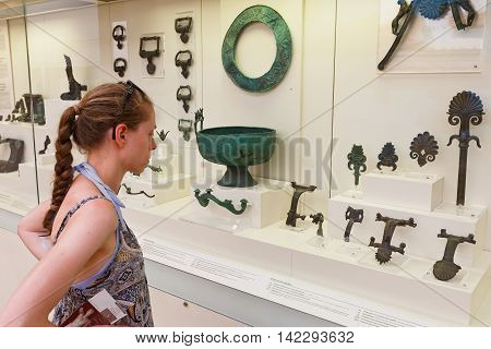 OLYMPIA, GREECE - AUGUST 08, 2016: Archaeological museum in Ancient Olympia on August 08, 2016.