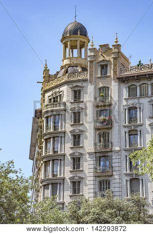 BARCELONA SPAIN - JULY 5 2016: Architecture of Avinguda Diagonal street in Barcelona Spain.