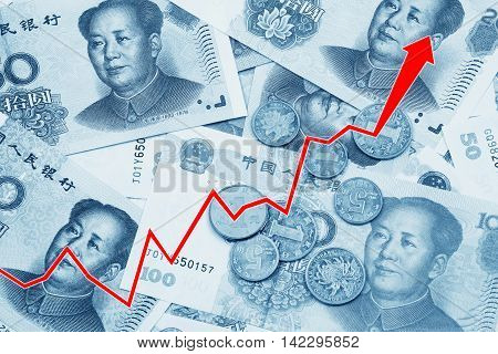 Graph illustrating the rise of the Chinese Yuan or RMB on the international market over a collage of Chinese money
