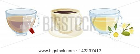 Lots of coffee in different cups - coffee time. Beverage hot breakfast morning coffee. Morning tea drink mug. Espresso caffeine beverage cups of coffee. Vector illustration set of coffee and tea cups.