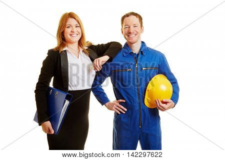 Profession in construction or business as a team