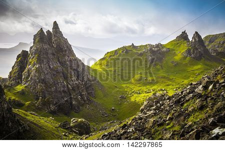 The ancient rocks of Old Man of Storr on a cloudy day - Isle of Skye, Scotland, UK