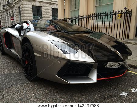 LONDON, UK, AUG 11, 2016: Limited edition Lamborghini Aventador super car seen parked image taken in the street