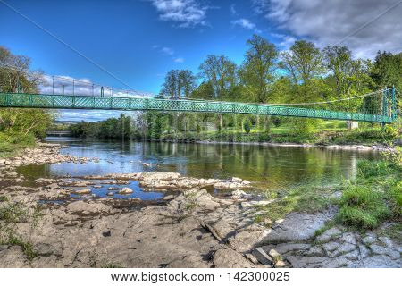 Pitlochry Scotland UK view of River Tummel in Perth and Kinross in summer in colourful hdr