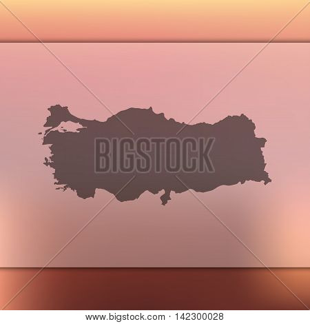 Turkey map on blurred background. Blurred background with silhouette of Turkey. Turkey. Blurred background. Turkey silhouette. Turkey vector map. Turkey flag.
