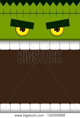 Vector stock of frankenstein monster face for halloween poster background