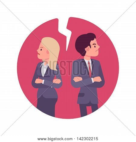Bad business relationship. Man and woman in a formal wear. Cartoon vector flat-style business concept illustration