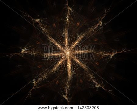 Particles of gold abstract fractal forms on the subject of nuclear physics science and graphic design. Geometry sacred futuristic quantum digital hologram texture in development wave surreal design.