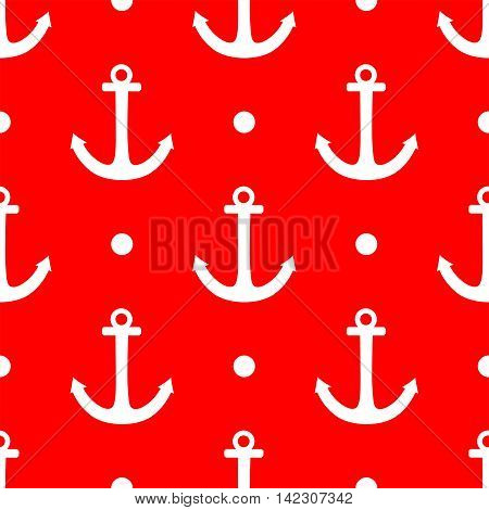 Tile sailor vector pattern with white anchor and polka dots on red background  Tile sailor vector pattern with white anchor and polka dots on red background