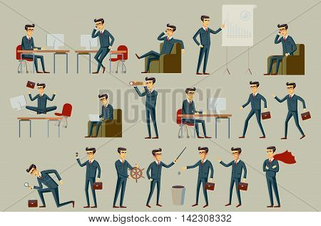 Set Of Six Vector Illustration Of Businessman Wearing Bright Blue Formal Three Piece Business Suit I