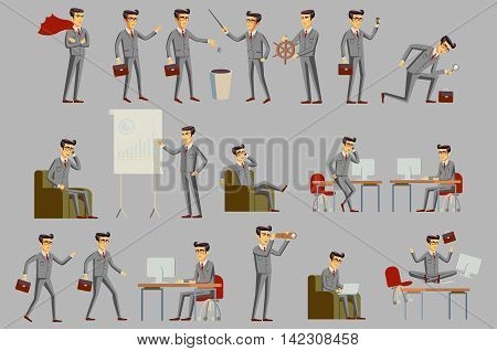 Set of business people vector art grey suit