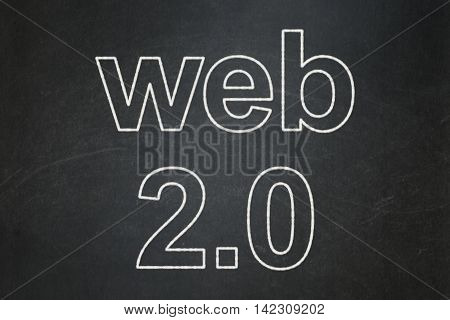 Web development concept: text Web 2.0 on Black chalkboard background