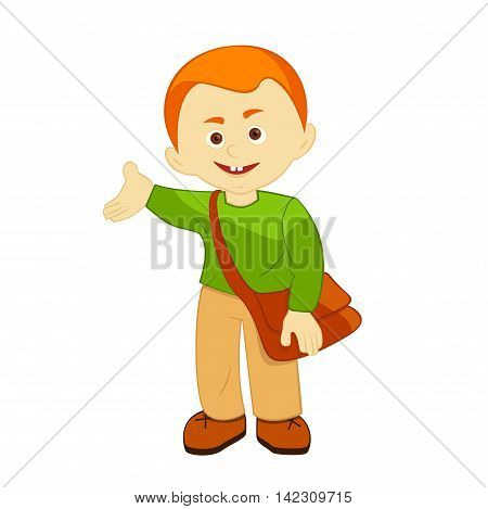 school-age boy with a bag over his shoulder, smiles, welcomes, vector illustration