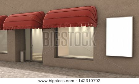 store exterior 3d illustration, fashion concept .