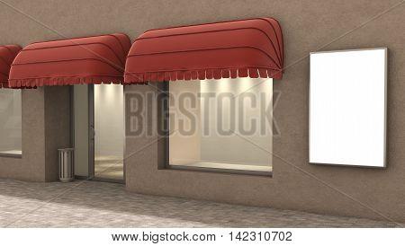 store exterior 3d illustration, fashion concept .