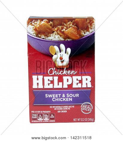 Spencer Wisconsin - August 11 2016 Box of Chicken Helper Sweet & Sour Chicken Chicken Helper is a packaged food product branded by General Mills
