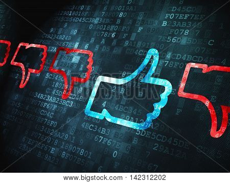 Social network concept: pixelated Thumb Up, Down icon on digital background