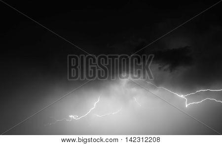 Lightning: Lightning Bolt, Isolated Against Black Ground.