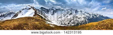 View of the snow-covered Tatra peak Wo