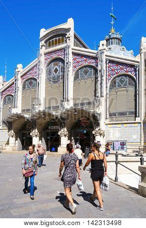 VALENCIA, SPAIN - JUNE 21: A view of the Mercado Central on June 21, 2016 in Valencia, Spain. This building built in modern art nouveau style is the seat of the main public market in the city