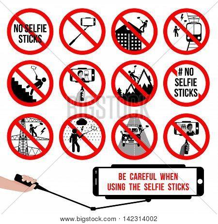 Set no selfie sticks. Selfie prohibited sign. Vector