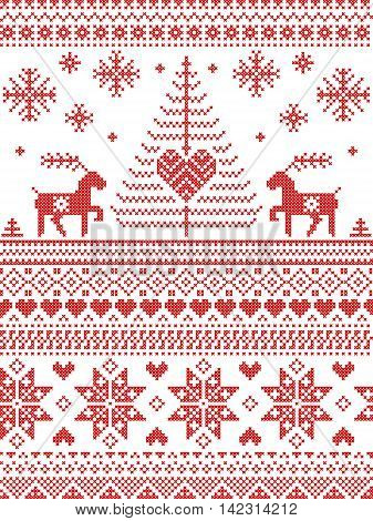 Scandinavian style and Nordic culture inspired Christmas and festive winter seamless pattern in cross stitch style with Xmas trees , snowflakes, starts, reindeer, hearts, decorative ornaments in red