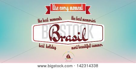 Brasil best holiday card over pastel colored background in outlines. Digital vector image