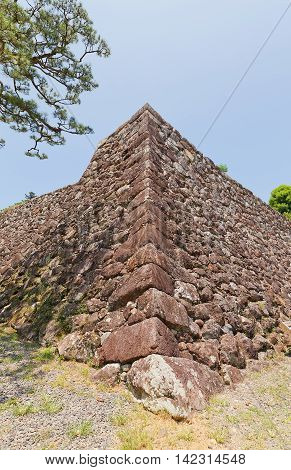 KOCHI JAPAN - JULY 19 2016: Stone walls (ishigaki) of Kochi castle (circa 17th c.) Shikoku Island Japan. Kochi is one of only 12 survived castles in Japan