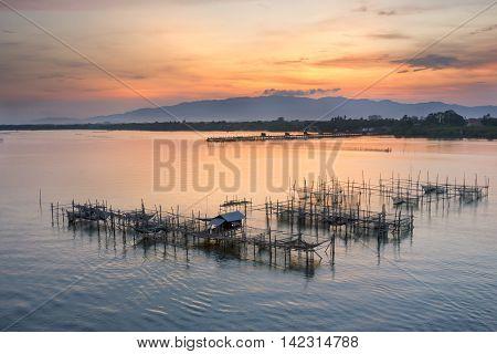 fisherman village at Laem Sing Chanthaburi in the morning