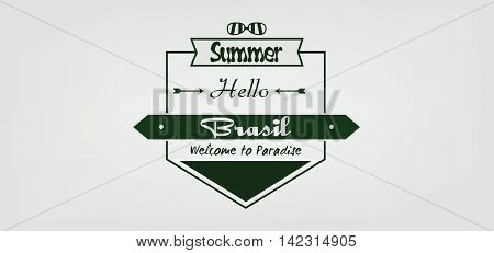 Welcome to Brasil card with sunglasse and arrows over white background in outlines. Digital vector image