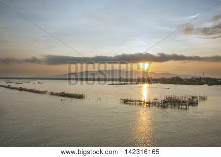fisherman village in Laem sing estuary , Chanthaburi