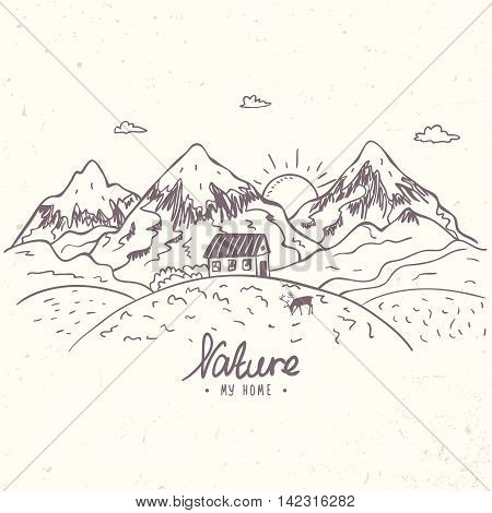 Beautiful doodle nature mountains with house. Hand drawn sketch. Vector illustration