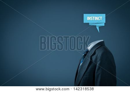 Successful manager has business instinct. Businessman with label representing brain and text instinct.