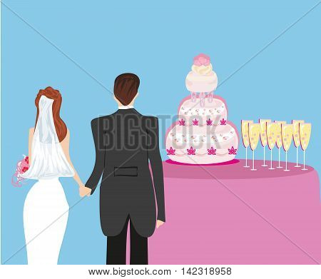 wedding cake and a pair of honeymooners , vector illustration