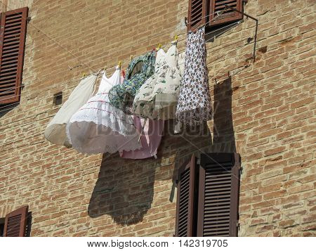 Clothes drying drip hanging from a wire