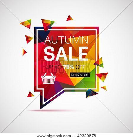 Autumn sale banner template for shop, online store, supermarket, fair, boutique. Vector eps 10 format.