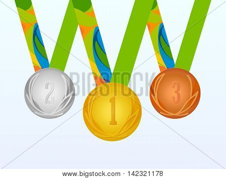 Medal, vector. Gold, silver and bronze medals set