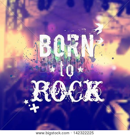 Vector Blurred Background With Rock Stage And Crowd. Illustration With Watercolor Splash And