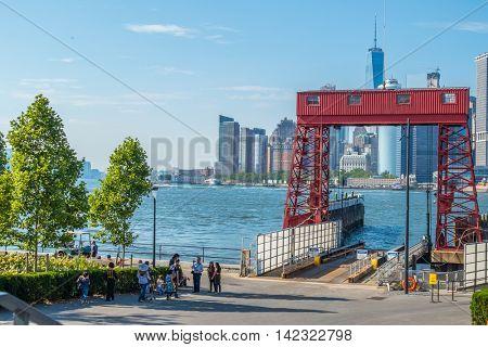 NEW YORK CITY, USA - JUNE 24, 2016:  Governors Island: Ferry Entrance