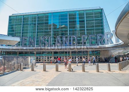 NEW YORK CITY, USA - JUNE 24, 2016: Entrance of the terminal of Staten Island Ferry in Lower Manhattan