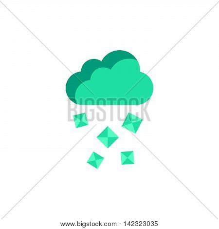 Cloud and hail icon in flat style on a white background