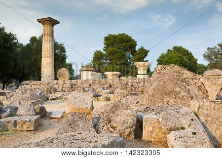 Remains of Temple of Zeus in the archaeological site of Ancient Olympia.